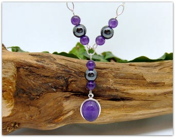 """Amethyst & Hematite 925 Sterling Silver Necklace  18"""" Silver chain unique special gift boxed Pagan"""