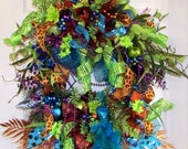 Sale! Was 109. Peacock wreath, winter wreath, peacock decor, Christmas wreath, grapevine wreath, elegant wreath, Designer wreath,