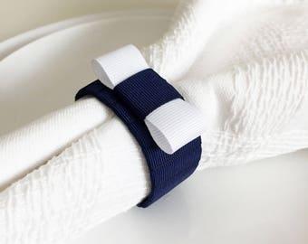 Navy and White Napkin Rings - Navy Wedding - Navy Table Decor - Navy Blue Wedding - Navy Bridal Shower - Boat decor - Yacht Party Decor