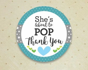 Printable Baby Shower Favor Thank You Tags for Boys. She's About to POP Thank You Tags. Baby Shower. Thank You Tags. It's a Boy.