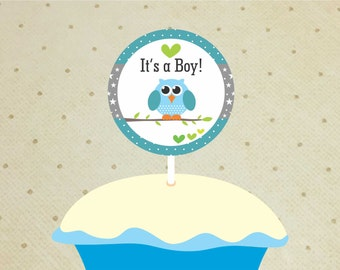 Printable Baby Shower Cupcake Toppers – Baby Shower Decorations Boys – Owl Cupcake Toppers - It's a Boy Cupcake Toppers.