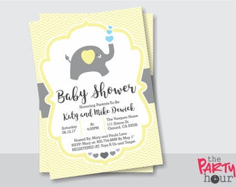 Elephant Gender Neutral Personalized Baby Shower Invitation - Printable Baby Shower Invitation Gender Neutral. Elephant Chevron