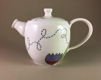 pottery teapot, porcelain, wheel thrown, hand made, handmade, ceramic