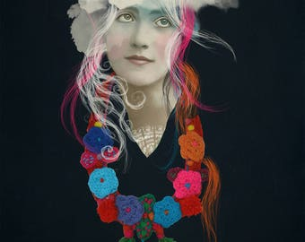 Decorative bright woollen crochet flowers and leaves necklace with pom poms and tassels