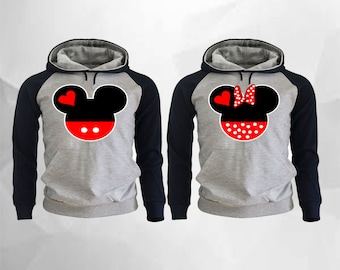 Mickey and Minnie Couple Hoodies Mickey Minnie Raglan Hoodies pärchen pullover Couple Matching Hoodies Mickey Hands Hoodies Grey-Black