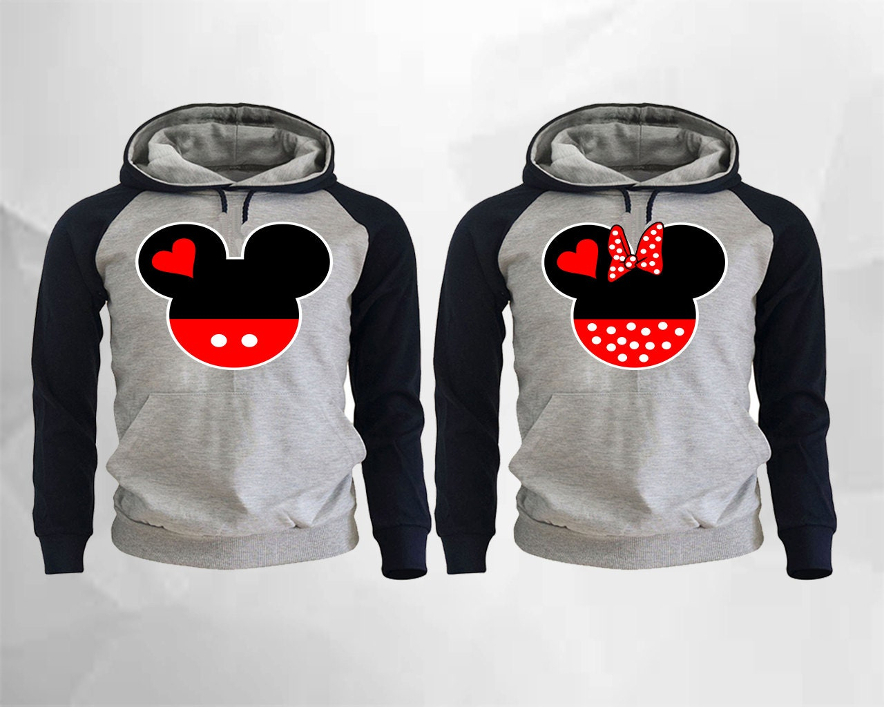 mickey and minnie couple hoodies mickey minnie raglan hoodies. Black Bedroom Furniture Sets. Home Design Ideas