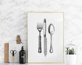Vintage kitchen print, Cutlery Print, Vintage Cutlery Print, Vintage kitchen wall art, Dining room wall decor, Spoon fork knife print