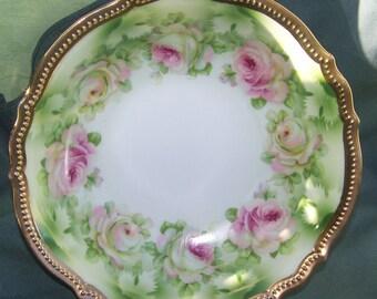 Vintage P.K. SILESIA Porcelain Bowl In Pink Rose Pattern