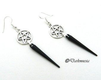 Earrings silver, pentacle, pentagram, black pike, goth, gothic, wicca, witch