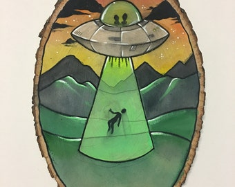 UFO 'Stay In Bed' Alien Abduction Painting on Wood Round - Funny Watercolor Illustration with Aliens // Home Decor Wall Art