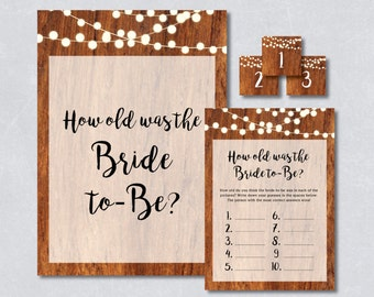How old was the bride to be game / Rustic wooden string light / Bridal shower game / DIY Printable / INSTANT DOWNLOAD