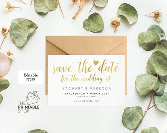 Gold save the date template, Printable save the date wedding save the date rustic save the date, Gold wedding stationery, Editable pdf