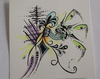 Free Spirited- Mixed Media Original Pen & Watercolor