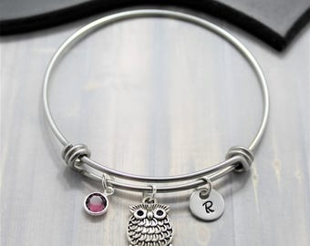 Owl Bangle Bracelet - Silver Owl Jewelry - Gift for Owl Lovers - Owl Themed Gift