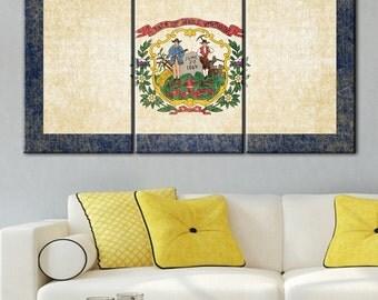 West Virginia Flag, West Virginia Vintage, West Virginia wall, West Virginia canvas, West Virginia art, West Virginia state, West Virginia