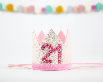 21st Birthday Crown | Adult Party Crown | 21st Birthday Party Hat | Turning 21 Hat | Birthday Party Decor | White + Pink
