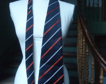 True vintage of 70's tie Silk-weaving tie tie wide black red and white stripes costume business