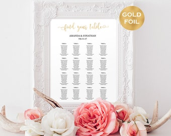Wedding seating chart instant download - Gold wedding seating chart printable - Gold Foil Wedding -downdolable wedding #WDH0146