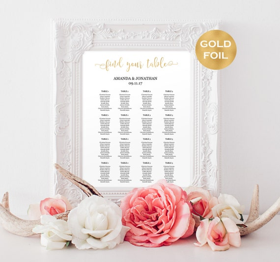 Gold Foil Wedding seating chart instant download
