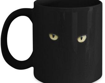Wild & Crazy Cat Eyes 11 oz Black Coffee Mug