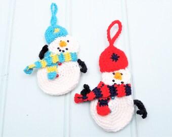 Crochet snowmen decorations, Two snowmen Christmas tree decorations, made to order snowmen, Christmas decorations, snowmen decorations