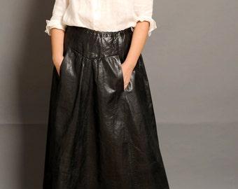 Leather maxi skirt | Etsy