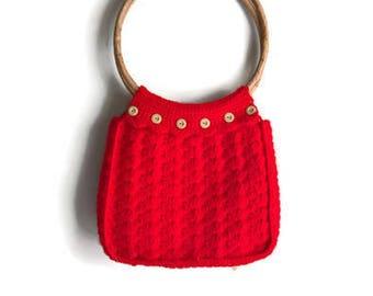 Vintage 1970's Crochet Tote Bag - Bamboo Handles