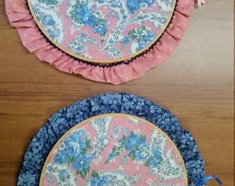 1940s Feedsack, print cloth ruffled hoop set of hangings