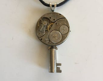 Steampunk Necklace Vintage watch parts and keys