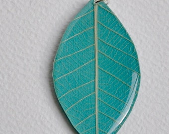 Hand Made Skeleton Leaf with Paper and Resin - Large Pendants
