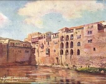 Mint TUCK 7785 Artist Postcard JERUSALEM Israel, Holy Land, Pool of Hezekiah,