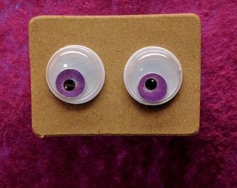Googly Eye Earrings in Purple