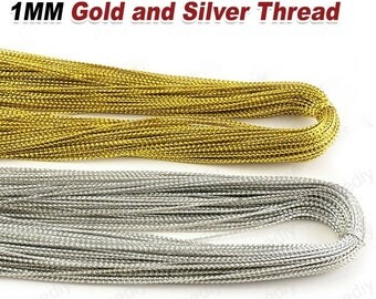 180 Meters Thickness 1MM Gold and Silver Thread Rope Diy Jewelry Accessories