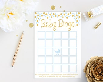Baby Bingo Game ~ Blue and Gold Baby Shower Game ~ Baby Boy Pram ~ Printable Game 0024BG