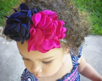 Navy Hot Pink Floral Headband- Satin Flowers - Singed Flower Headband - Photo Prop - 1st Birthday - Smash Cake - Custom Necklace