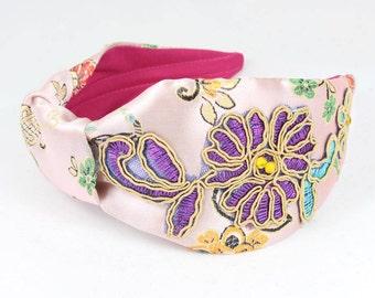 Pink applique Headband, satin headband, vintage headband, wide headband, floral headband