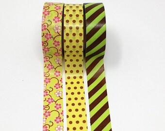 Green & Yellow  washi tape set of 3