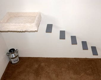 Combo Set Wall Mounted Free Floating Cat Bed 5 Deluxe Wooden Steps