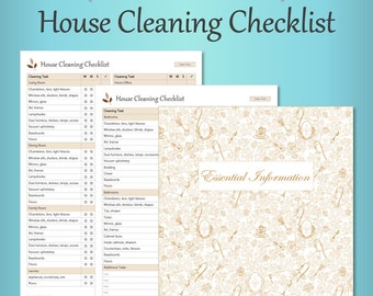 House Cleaning Checklist – Taupe, Editable, Fillable, House Cleaning List, Home Improvement, Repair, Home Management PDF Printables