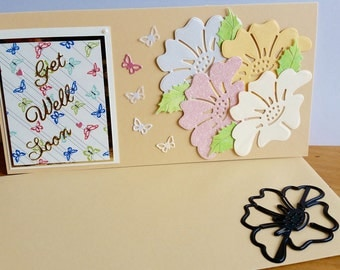 A tall get well card, handmade, handcrafted, embellished.