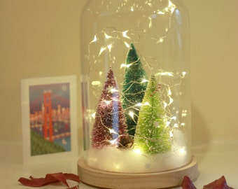 Christmas Tree Decoration  // Fairy Lights Glass Dome // Bottle Brush Christmas Tree
