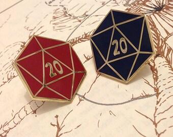 D20 Enamel Pin, Red or Blue Designs