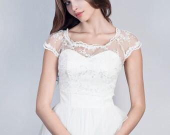 Bridal short sleeve lace bolero Bridal lace jacket Wedding lace topper Bridal bolero in white and ivory