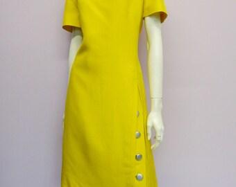 Vintage 60's yellow mod dress // Eur 44 / US 14 / UK 16