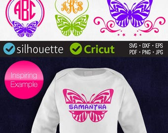 Butterfly Split Monogram Svg Butterfly Svg Butterfly Frame Svg Initial Border Cricut cut files Dxf Butterfly Silhouette cuttable clipart Png