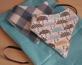 Handmade Baby Bandana Style Dribble Bibs - Baby to Toddler (Umbrellas and Checks)