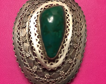 Vintage 880 Silver Chrysocolla Openwork Pendant /Brooch
