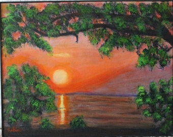 Original Acrylic Painting of Lake Erie Sunset