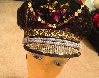 Custom Jeweled hand made Hat for your Festival(Burning man,Detroit,New Orleans,BPM,EDC,Further Future). Glamorous gold captain hat