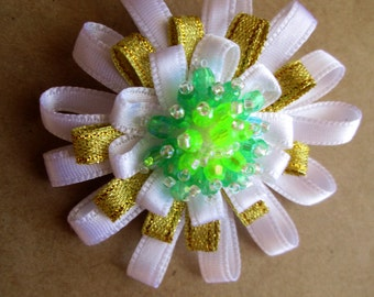 Miss White Lilac & Green Beaded Flower Hair Pin